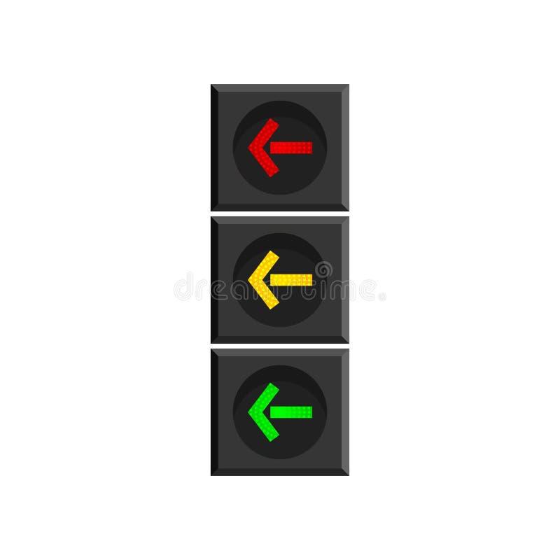 Verticaal verkeerslicht met pijlen die op de richting die van beweging wijzen op witte achtergrond wordt ge?soleerd vector illustratie