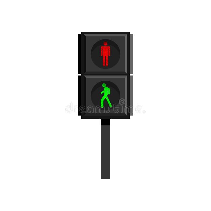 Verticaal verkeerslicht voor voetgangers met menselijke cijfers die op witte achtergrond worden ge?soleerd stock illustratie