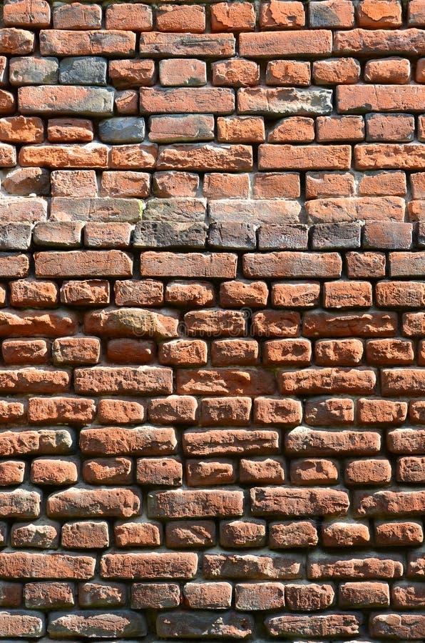 Vertical ścienna tekstura kilka rzędy bardzo stary brickwork robić czerwona cegła Rozbijający i uszkadzający ściana z cegieł z us zdjęcie royalty free