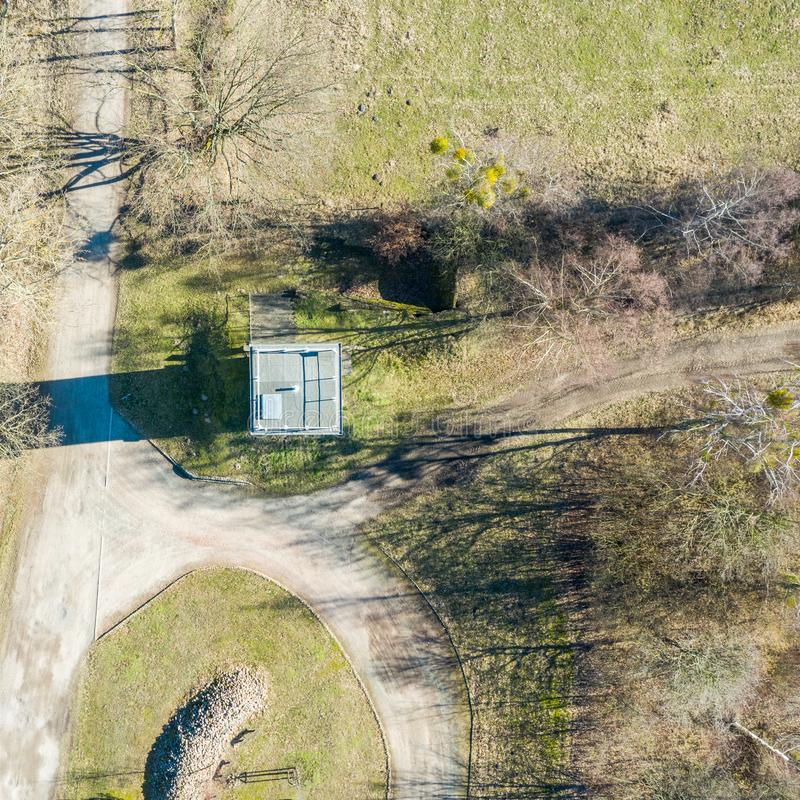 Vertical aerial photograph of a former watchtower at the inner-German border between the Federal Republic of Germany and the. German Democratic Republic., drone stock photo