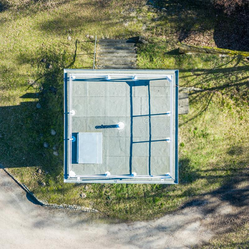 Vertical aerial photograph of a former watchtower at the inner-German border between the Federal Republic of Germany and the. German Democratic Republic., drone royalty free stock image