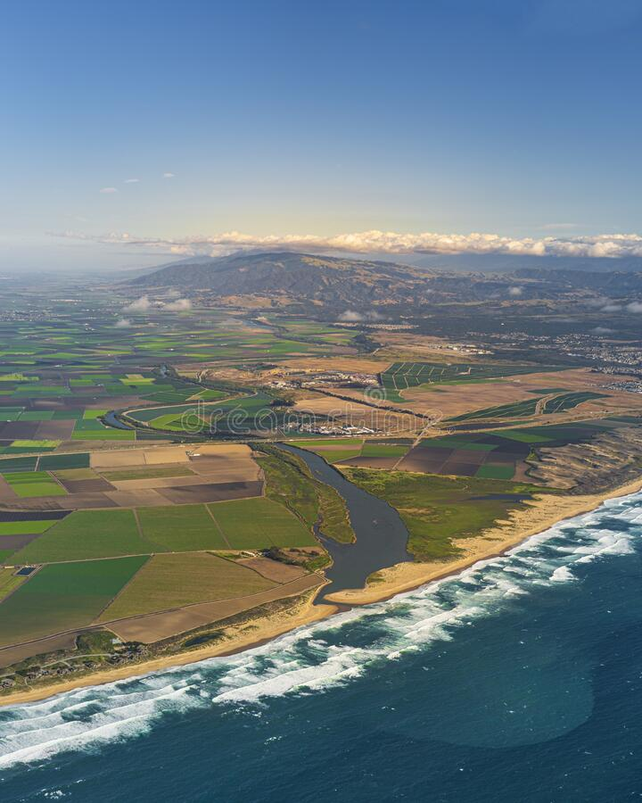 Vertical aerial shot of Salinas Valley in California, United States. A vertical aerial shot of Salinas Valley in California, United States stock photography