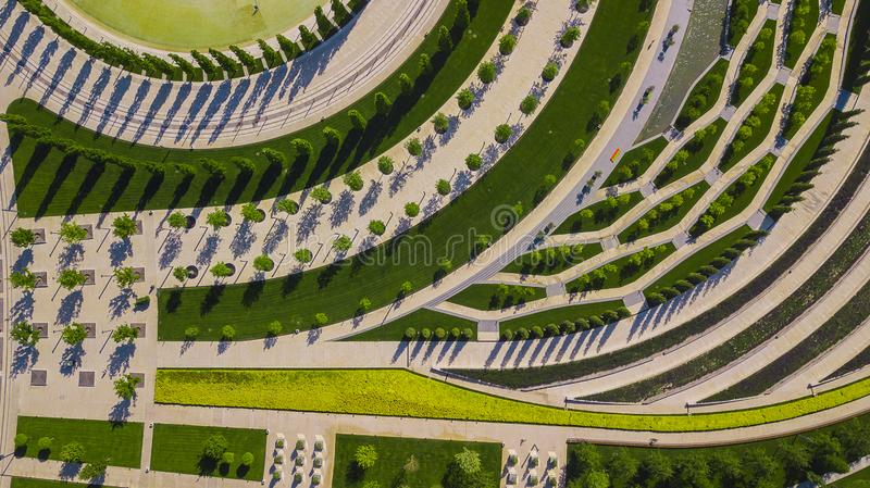 Vertical aerial top down view shot and looking down on the city park in Krasnodar, Russia royalty free stock images