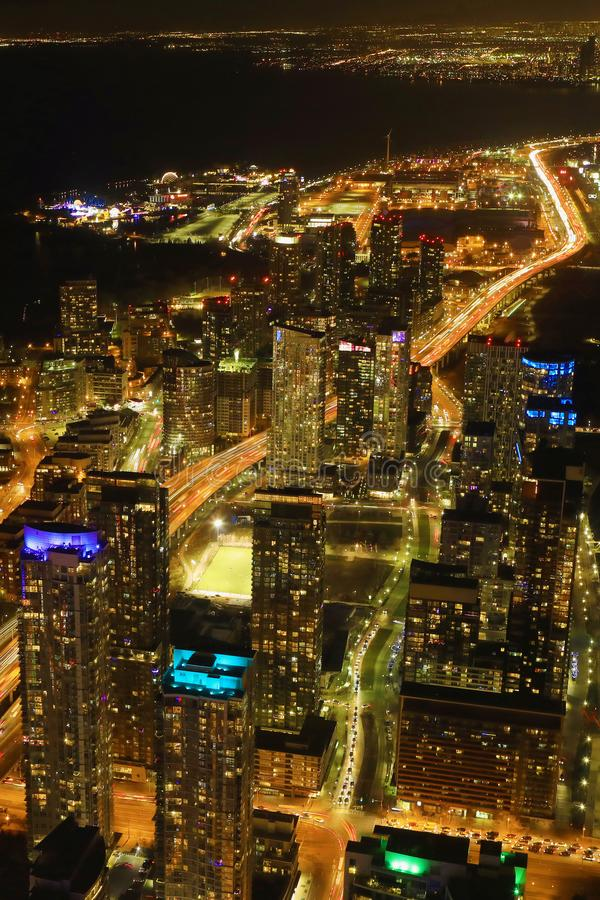 Vertical aerial of Toronto, Canada expressway at night. A Vertical aerial of Toronto, Canada expressway at night royalty free stock image