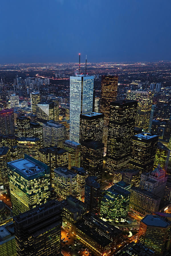Vertical aerial of the Toronto city center at night. A Vertical aerial of the Toronto city center at night royalty free stock photos