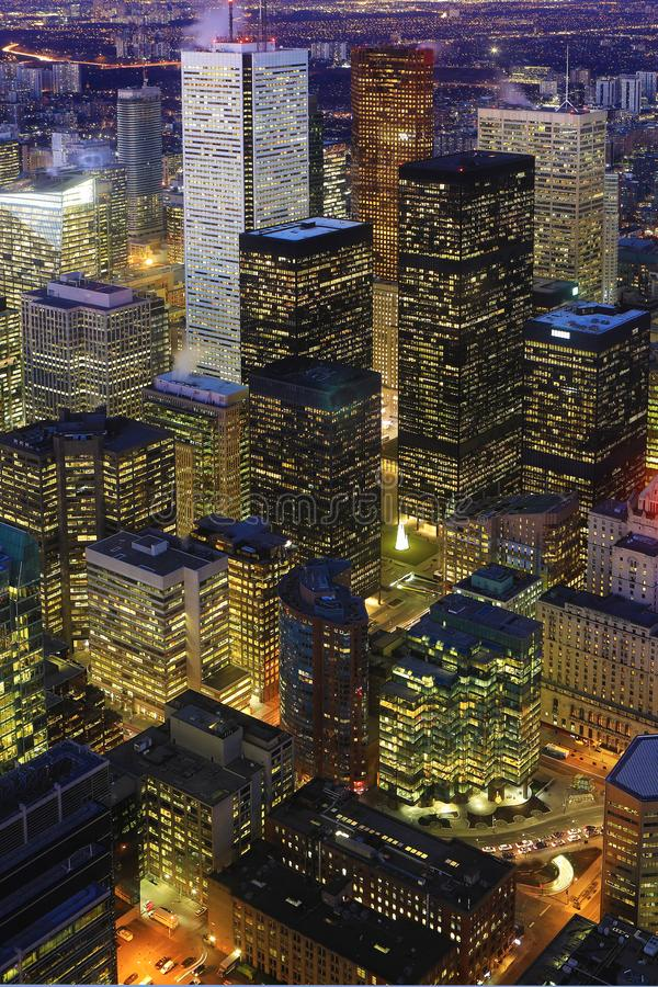 Vertical aerial of Toronto city center at night. A Vertical aerial of Toronto city center at night royalty free stock image