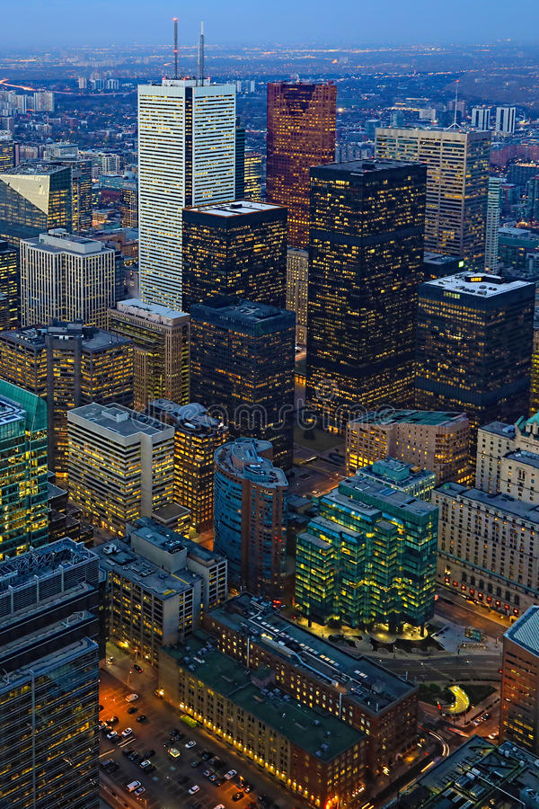 Vertical aerial of the Toronto city center after sunset. A Vertical aerial of the Toronto city center after sunset stock image