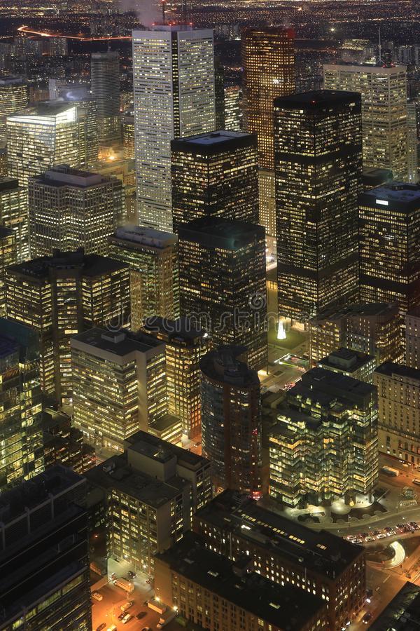Vertical aerial of Toronto cityscape at night. A Vertical aerial of Toronto cityscape at night royalty free stock images