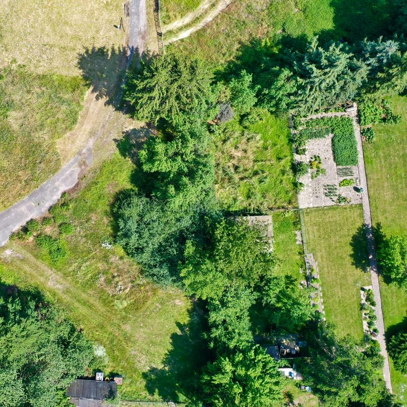 Vertical aerial view of a tidy vegetable patch bordered by rows of trees and bushes, with a field path diagonally in the picture royalty free stock photography