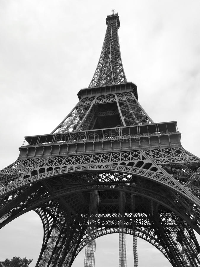 Eiffel Tower Vertical angle in Black and White royalty free stock photography