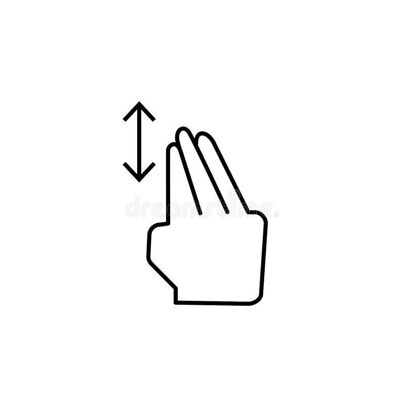 Vertical, arrasto, ícone do toque Elemento do ícone da corrupção Linha fina ?cone no fundo branco ilustração royalty free