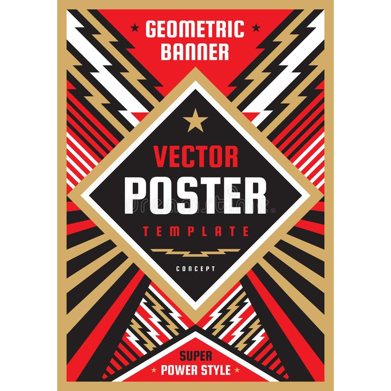 Vertical art poster template in heavy power style. National patriotism freedom vertical banner. Graphic design layout. Music royalty free illustration