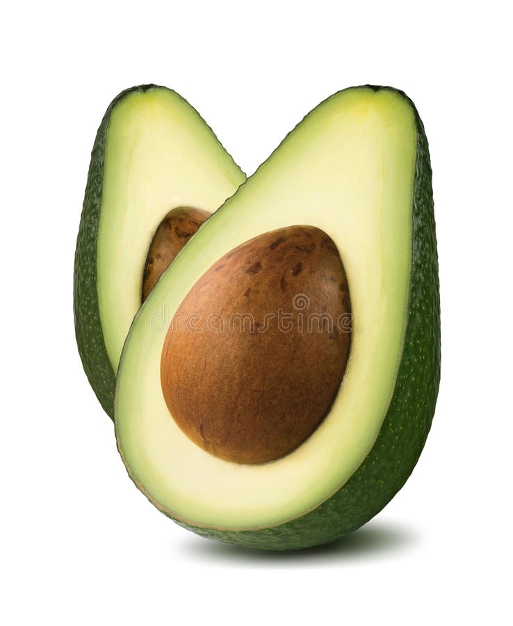 Vertical avocado cut halves isolated on white background. As package design element royalty free stock photo