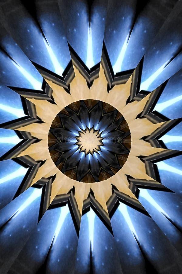 Vertical azul e preto da mandala do caleidoscópio do girândola fotografia de stock
