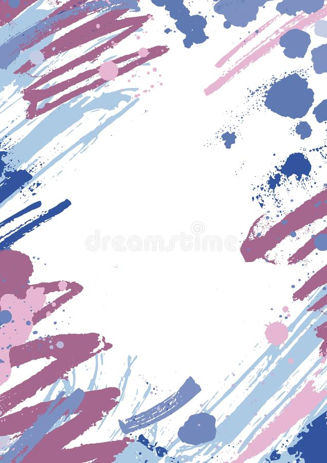 Vertical backdrop with colorful paint stains, blots and brush strokes on white background. Beautiful artistic decorative vector illustration
