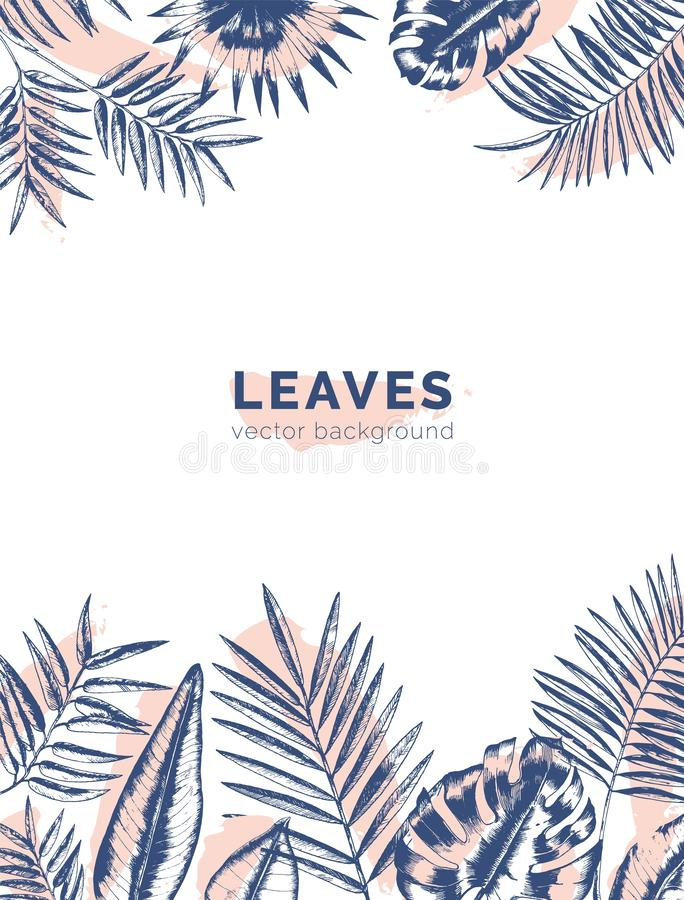 Vertical background with borders made of jungle palm tree branches and leaves drawn with contour lines and paint stains royalty free illustration