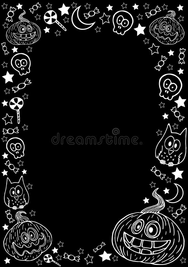Halloween funny pumpkins, with a skull and bones, an owl, stars, a month, white candies on a black background. Vertical background for halloween. Black vector illustration
