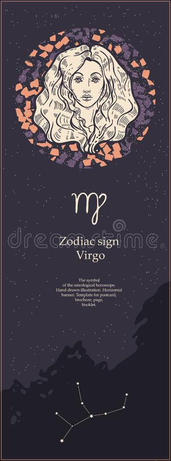 Zodiac sign Virgo. The symbol of the astrological horoscope. Hand-drawn illustration. Vertical banner. Template for stock illustration