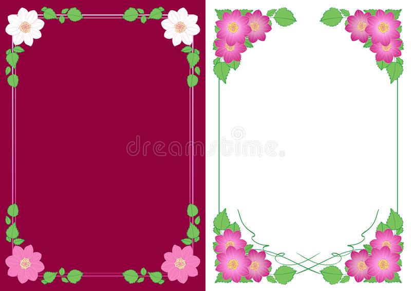 Vertical backgrounds with flowers dahlias in corners - vector floral decorative frames. Vertical backgrounds with flowers dahlias in corners - vector floral stock illustration