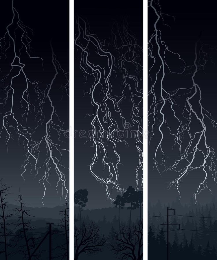 Vertical Banner Of  Lightning At Night. Royalty Free Stock Photos