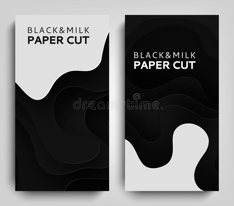Vertical Banner Paper art cartoon abstract waves. Paper carve background with milk. Dairy products modern origami design royalty free illustration