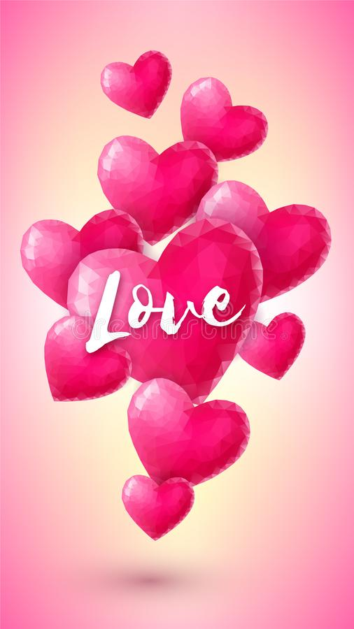 Vertical banner with pink origami hearts royalty free illustration