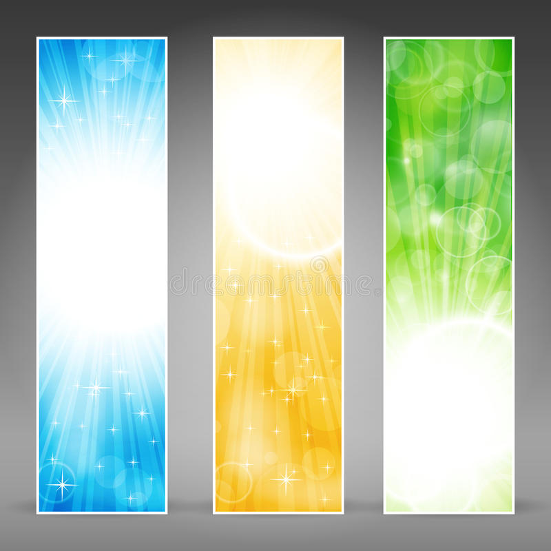 Vertical banner set with light bursts. Vector banner set in green, blue and gold for festive occasions with copy-space. EPS10 background with transparencies