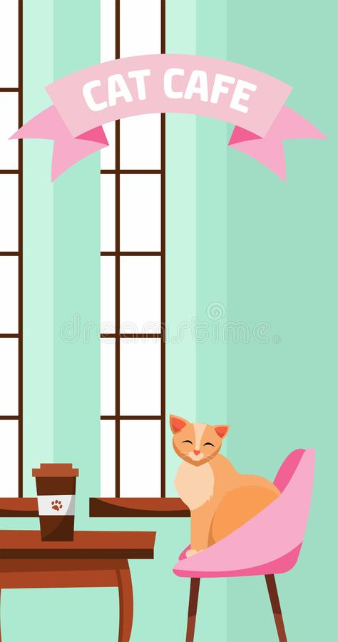 Vertical banner template for cat cafe. Cute fluffy cat sits at cafe table near large French window with paper Coffee Cup. vector illustration
