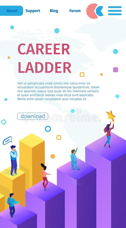 Vertical Banner is Written Career Ladder Cartoon. Movement Up Career Men and Women. Personnel Policy Important Organizational Structure Enterprise. Vector stock illustration
