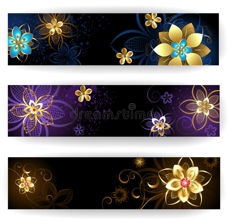 Vertical banners with abstract flowers. Three vertical banner decorated with gold and silver abstract flowers with blue, brown and light background vector illustration