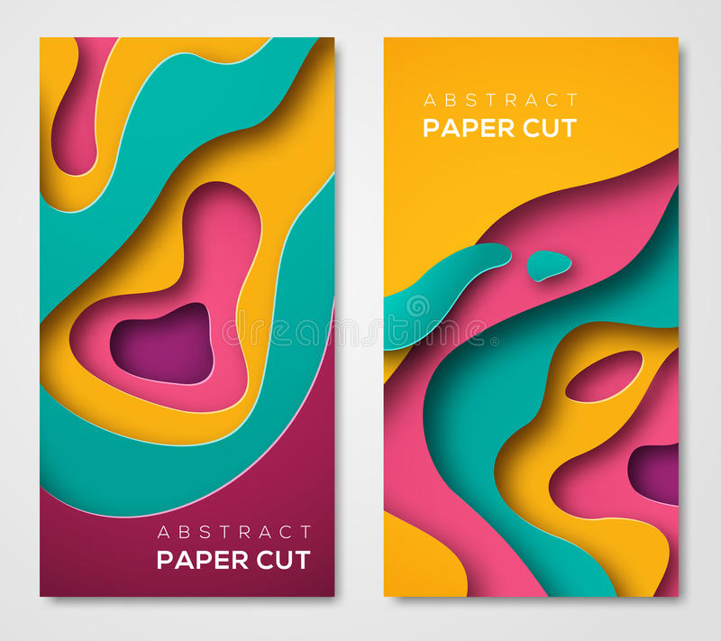 Vertical banners with 3D abstract shapes vector illustration