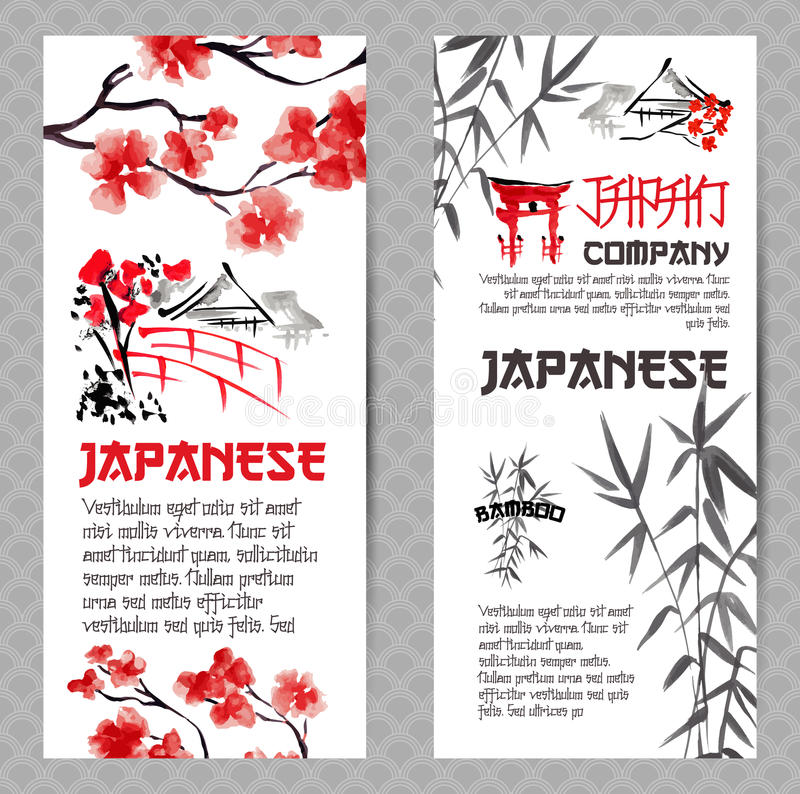 Vertical banners or flyers concepts set. Japanese red cherry flower branch blossom and bamboo silhouette. For travel company design and tourism advertising vector illustration