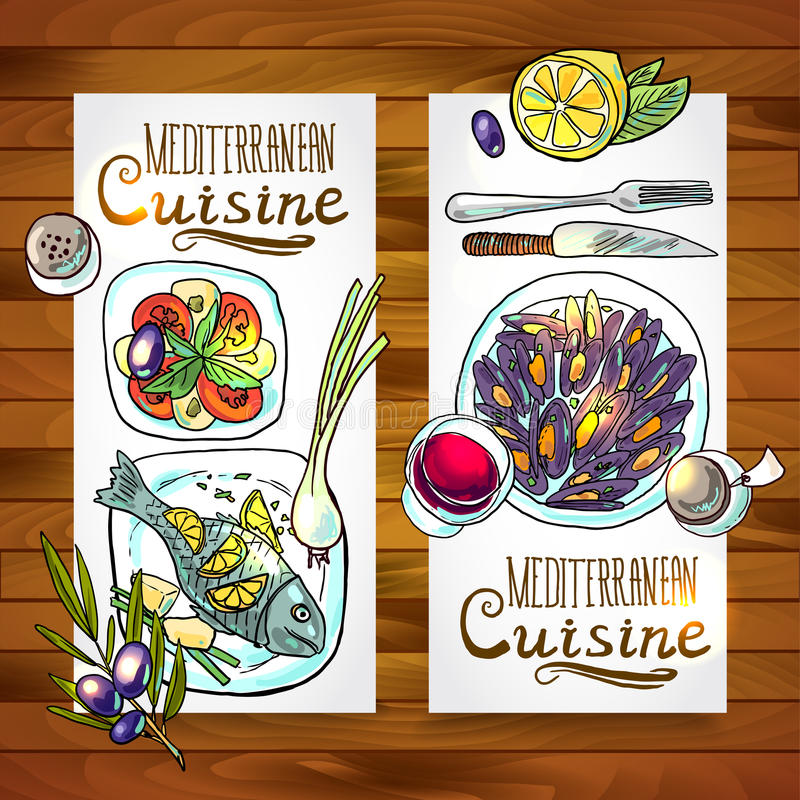 Vertical banners mediterranean cuisine. One wood texture stock illustration