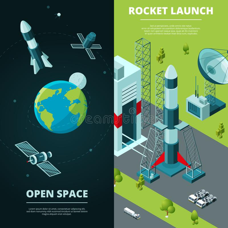Vertical banners with pictures of space travel and launch pad in spaceport stock illustration