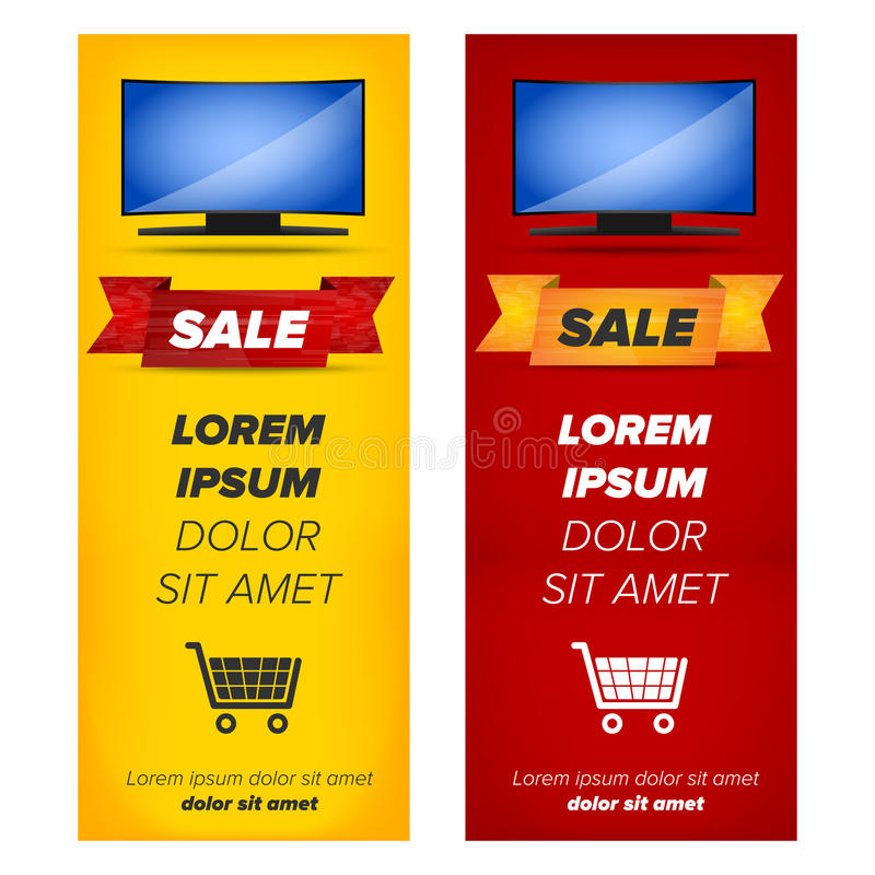 Vertical banners with plasma tv stock illustration