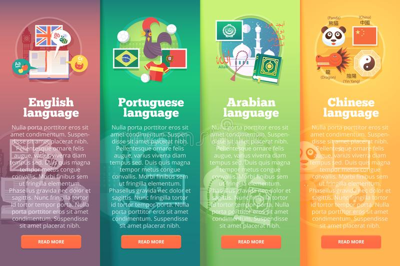 Vertical banners set of foreign language schools. Flat vector colorful illustration concepts of English, Portuguese stock illustration