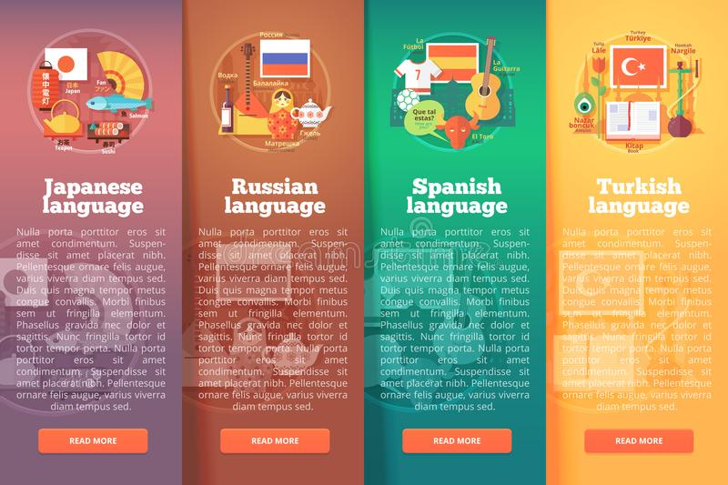 Vertical banners set of foreign language schools. Flat vector colorful illustration concepts of Japanese, Russian vector illustration