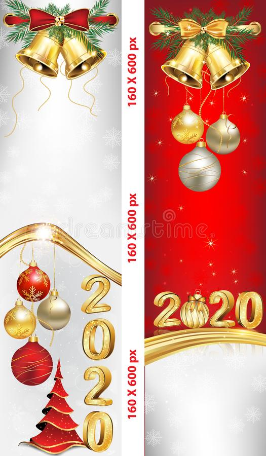 Vertical banners set for New Year 2020 celebration stock photo