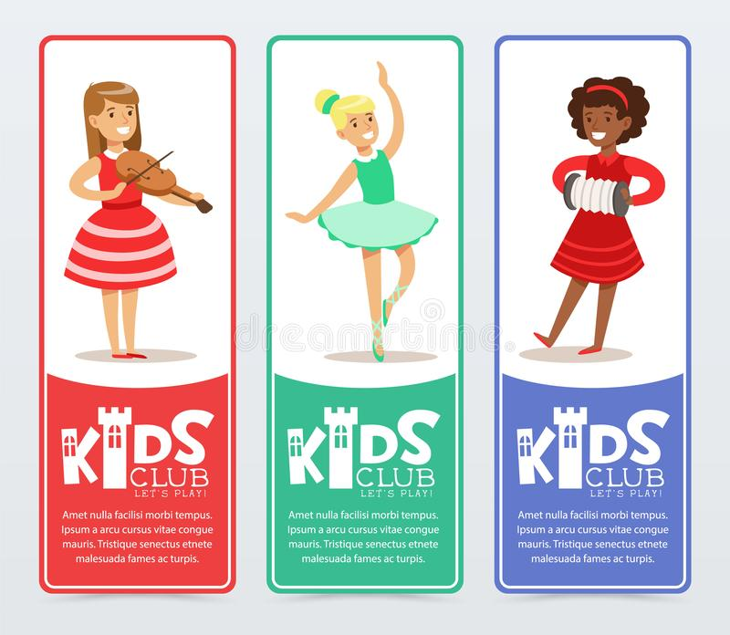 Vertical banners set with teenager girls practicing arts, playing the violin and accordion, ballet dancing. Kids club. Set of vertical banners with teenager vector illustration