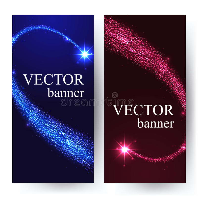 Vertical banners with shining falling stars in the. Night sky. Vector illustration with place for text stock illustration