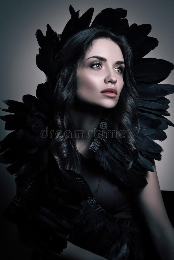 Vertical beauty portrait in dark tones. Luxury young woman with black feathers in her hair. Professional makeup and hairstyle royalty free stock photos