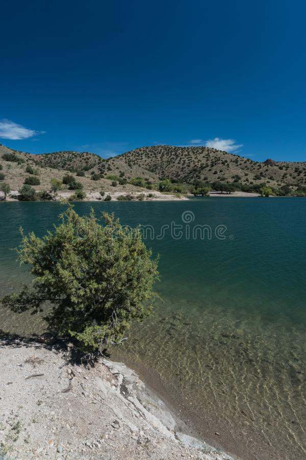 Vertical of Bill Evans Lake view in New Mexico near Silver City. stock image