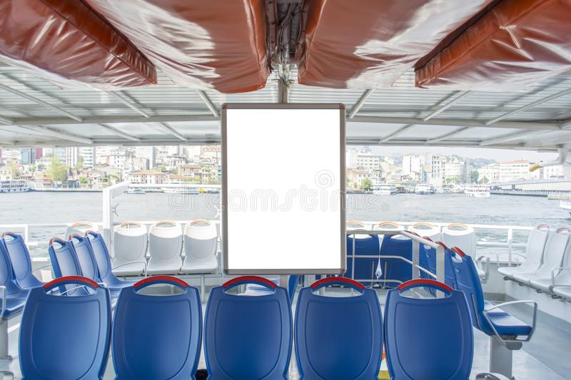 Vertical billboard within the ferry in istanbul turkey stock images