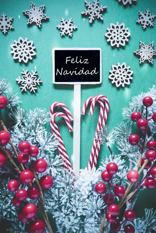 Vertical Black Christmas Sign,Lights, Feliz Navidad Means Merry Christma royalty free stock image