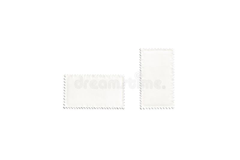 Vertical blanca en blanco y mofa rectangular horizontal del sello para arriba stock de ilustración