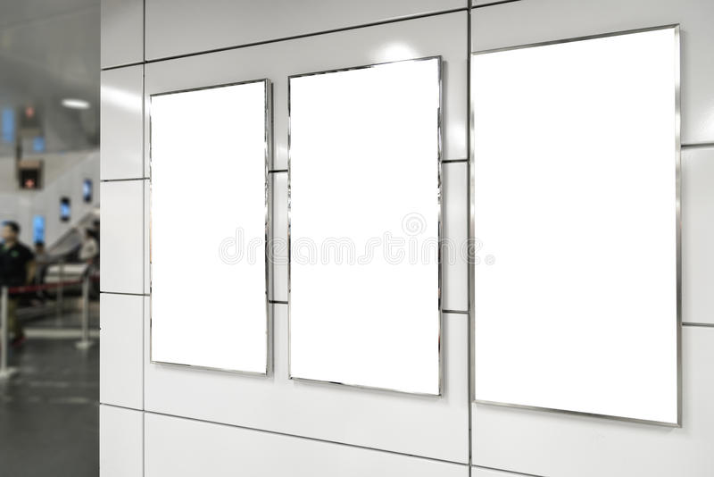 Vertical blank billboard stock photo