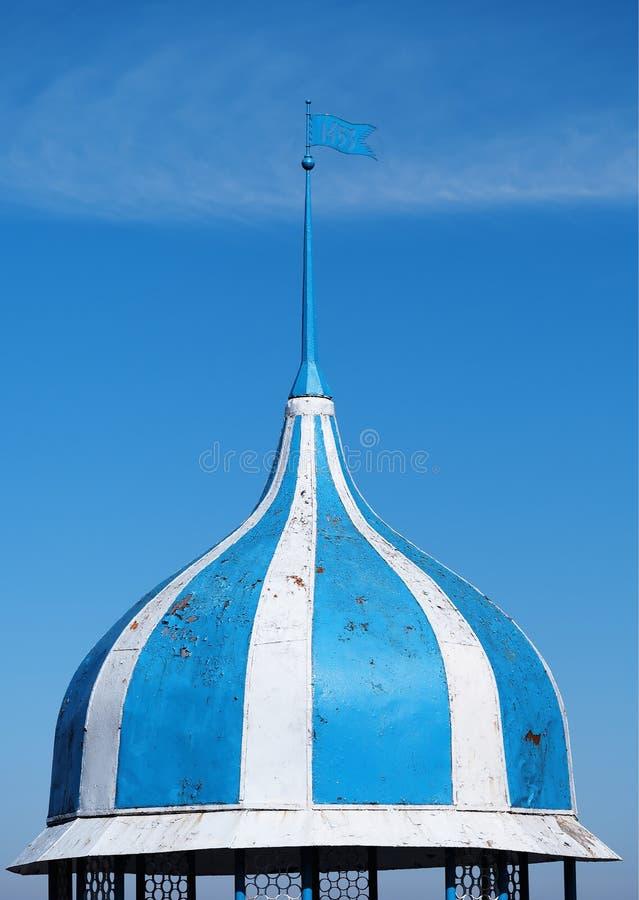 Vertical blue and white dome with spire object background hd. Orientation vivid vibrant color rich composition design concept element shape backdrop decoration stock images