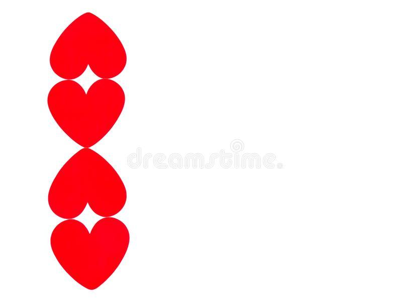 Vertical border row of bright red hearts royalty free illustration