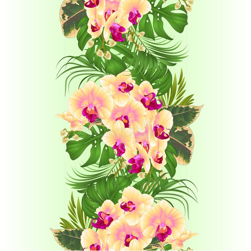 Vertical border seamless background with tropical flowers floral arrangement, with beautiful yellow orchid, palm,philodendron an stock illustration