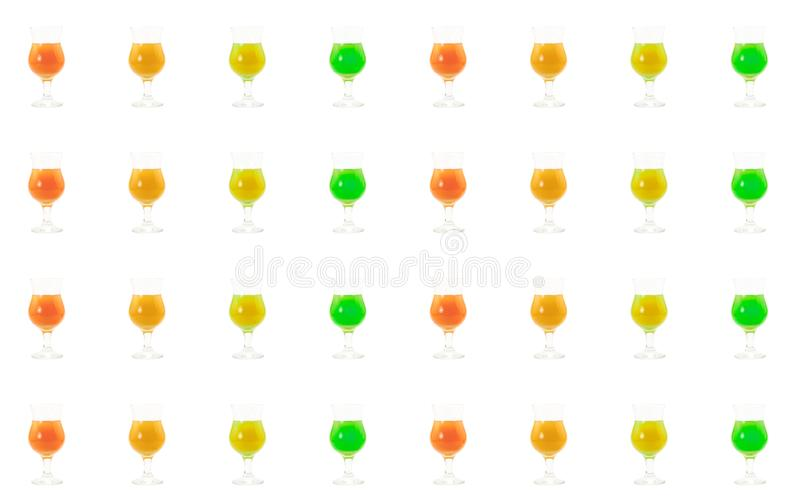 Vertical bright row of green red orange and yellow drinks cafe bar design on a white background culinary base design stock illustration